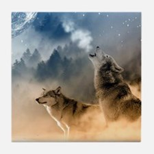 Wolves Howling at moon Tile Coaster