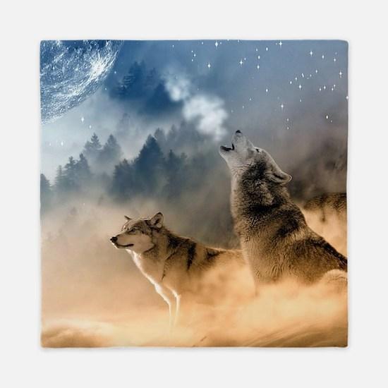 Wolves Howling at moon Queen Duvet