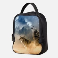 Wolves Howling at moon Neoprene Lunch Bag
