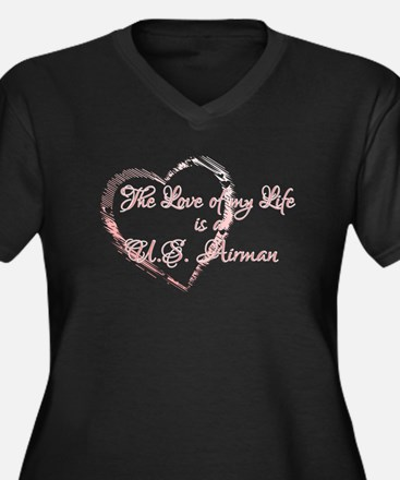 Love of my Life is a Airman Women's Plus Size V-Ne