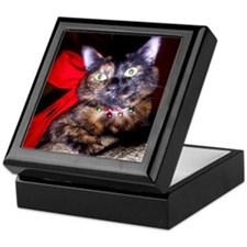 Christmas Tortie Cat Keepsake Box