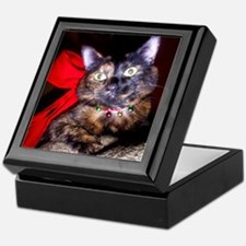 Christmas Tortie Cat Keepsake Box