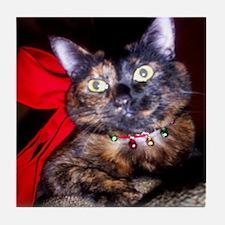 Christmas Tortie Cat Tile Coaster