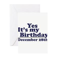 December 28th Birthday Greeting Card