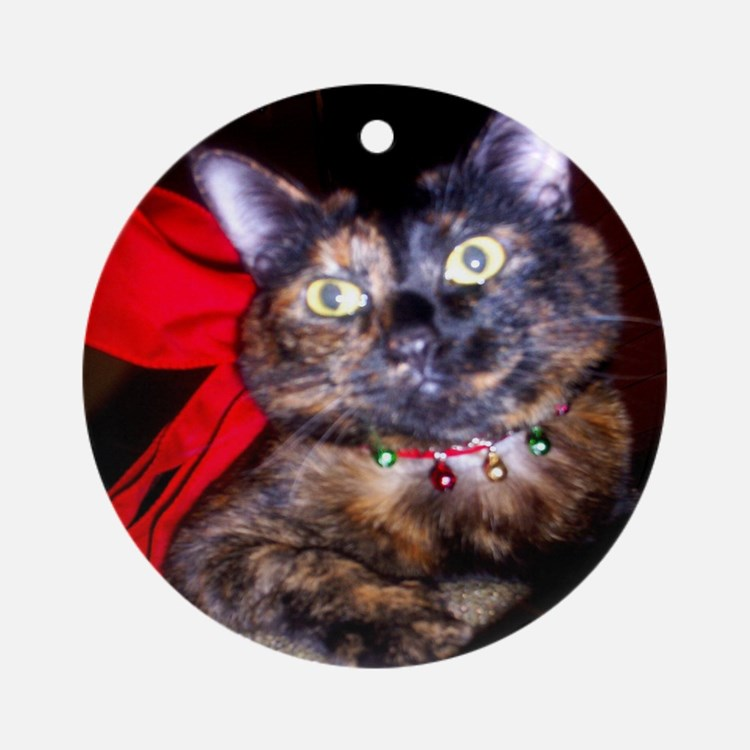 Christmas Tortie Cat Ornament (Round)