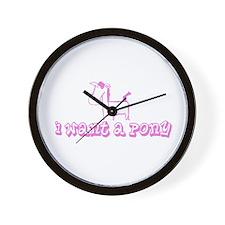 I Want A Pony Light Pink Wall Clock