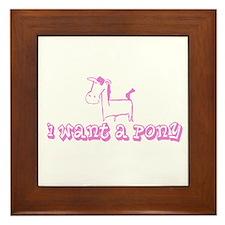 I Want A Pony Light Pink Framed Tile