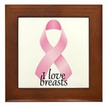 I Love Breasts Ribbon Framed Tile