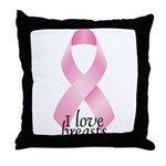 I Love Breasts Ribbon Throw Pillow