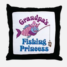 Grandpa's Fishing Princess Throw Pillow
