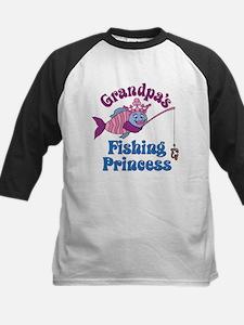 Grandpa's Fishing Princess Kids Baseball Jersey