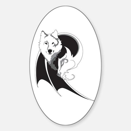 Wolf & Dragon Sticker (Oval)