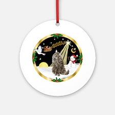 Night Flight Norwegian Forest cat Ornament (Round)