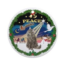 Peace Wreath Norwegian Forest cat Ornament (Round)