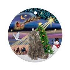 Xmas Magic & Norwegian Forest cat Ornament (Round)