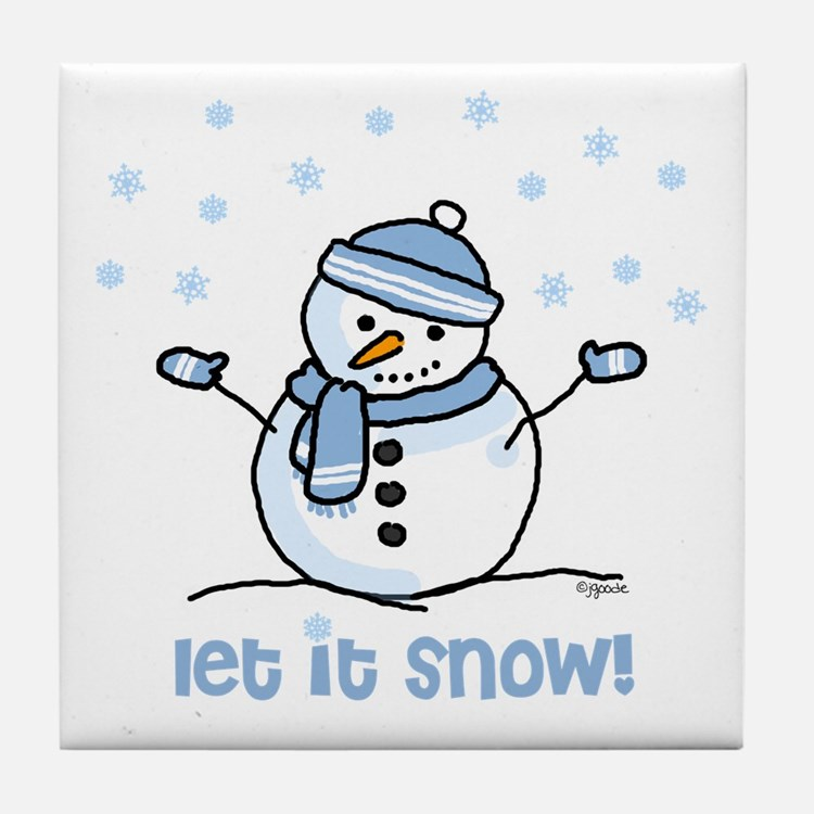 Let it snow snowman Tile Coaster
