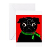Black pug christmas Greeting Cards (10 Pack)