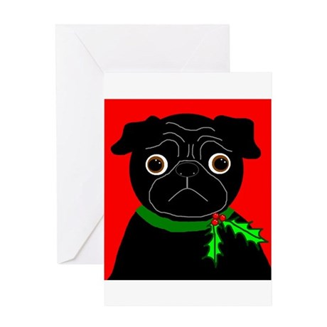 Holly (Black) Greeting Card
