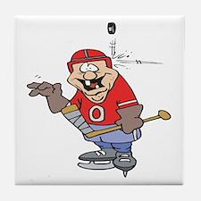 Goofy Hockey Player Tile Coaster