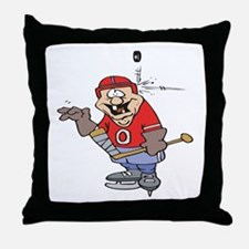 Goofy Hockey Player Throw Pillow