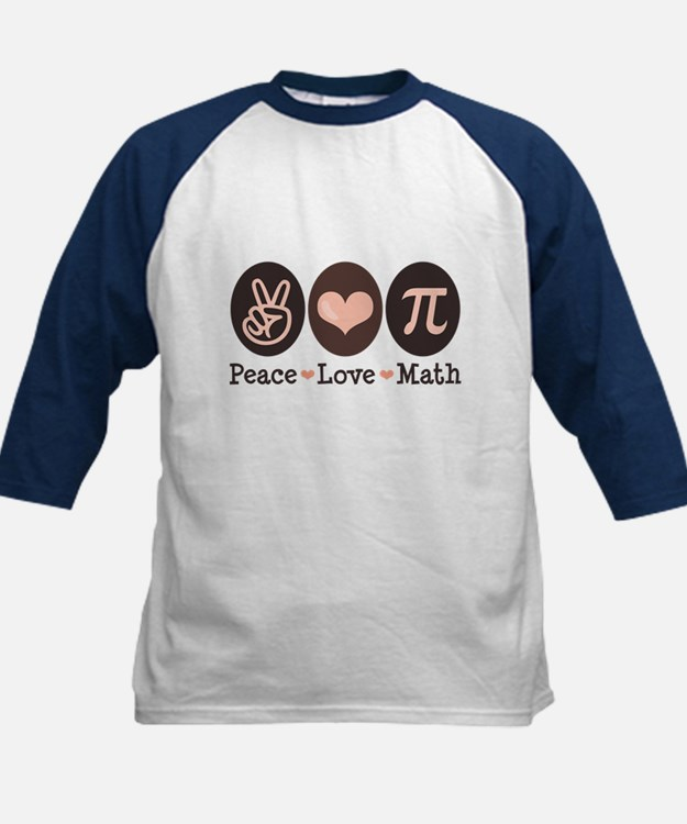 Peace Love Math Pi Kids Baseball Jersey