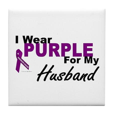 I Wear Purple For My Husband 3 (PC) Tile Coaster