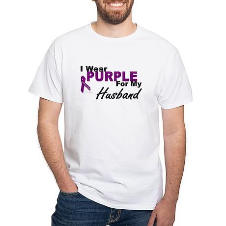 I Wear Purple For My Husband 3 (PC) White T-Shirt