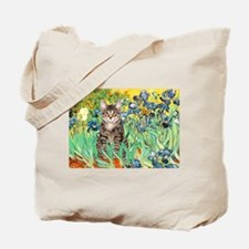 Irises / Tiger Cat Tote Bag