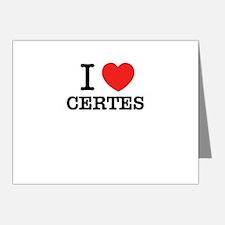 I Love CERTES Note Cards