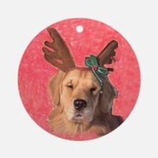 Golden Retriever Reindeer Ornament (Round)