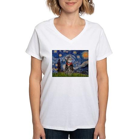 Starry Night / Tiger Cat Women's V-Neck T-Shirt
