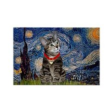 Starry Night / Tiger Cat Rectangle Magnet (10 pack