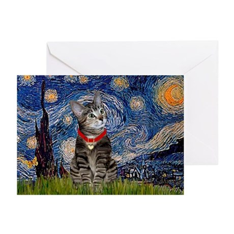 Starry Night / Tiger Cat Greeting Cards (Pk of 10)
