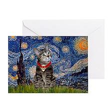 Starry Night / Tiger Cat Greeting Card