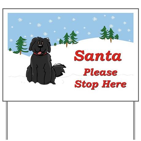 Newfie - Snow (Sq) - Santa Yard Sign