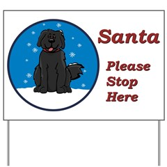 Newfie - Snow (Rd) - Santa Yard Sign