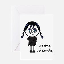 So Emo, It Hurts (Emo Girl) Greeting Card