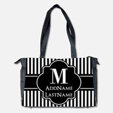 Stripes Pattern with Monogram - Black a Diaper Bag