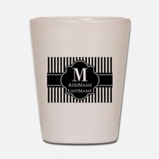 Stripes Pattern with Monogram - Black a Shot Glass