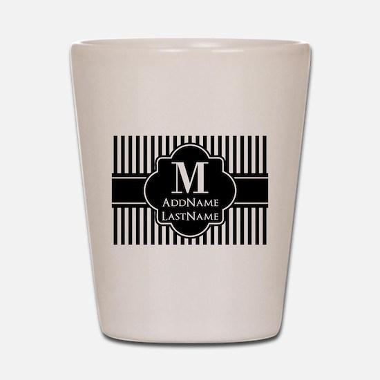 Stripes Pattern with Monogram - Black a Shot Glass