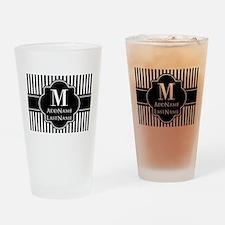 Stripes Pattern with Monogram - Bla Drinking Glass