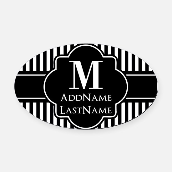 Stripes Pattern with Monogram - Bl Oval Car Magnet