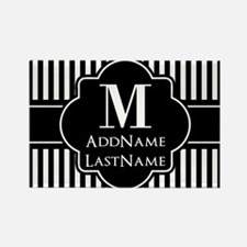 Stripes Pattern with Monogram - B Rectangle Magnet
