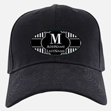 Stripes Pattern with Monogram - Black an Baseball Hat