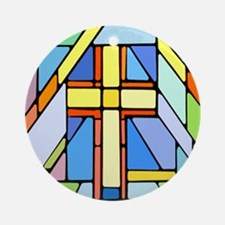 Mondrian Style Stained Glass Cross Ornament