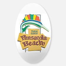Pensacola Beach Sign, Florida Sticker (Oval)