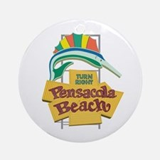 Pensacola Beach Sign, Florida Round Ornament