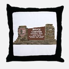 Bryce Canyon National Park Sign, Utah Throw Pillow