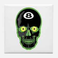 Green Eight Ball Skull Tile Coaster