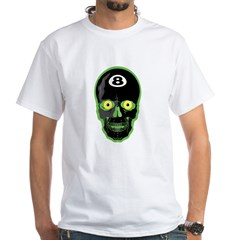 Green Eight Ball Skull White T-Shirt
